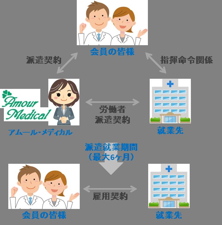 医師・看護師・保健師紹介予定派遣システム図